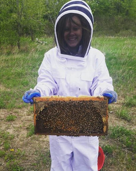 My wife is a beekeeper in training!